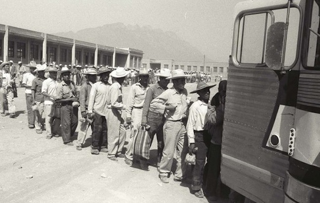 Braceros getting on bus in Monterey Mexcio