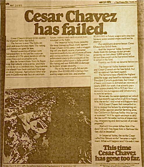Cesar Chavez has Failed