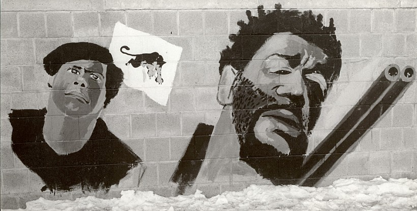 Stephen Shames, Wall Mural of Huey P. Newton and Bobby Seale. Roxbury, Boston, 1971