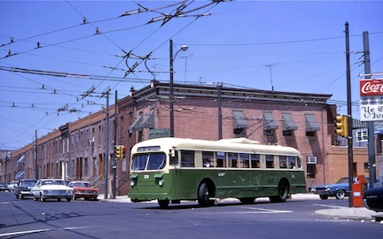 Phila. Brill trolleybus at 23rd & Snyder (1968)