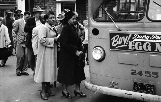 Rosa Parks boarding a Montgomery bus after victory for the boycott