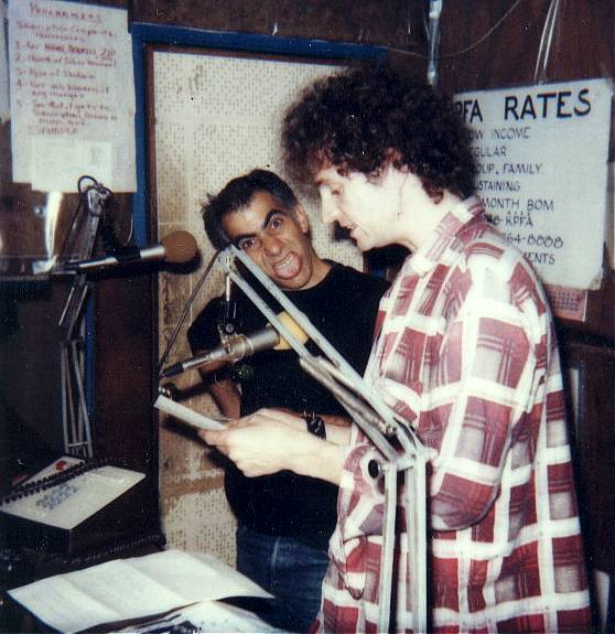 Yohannan on left at KPFA studios (1982)