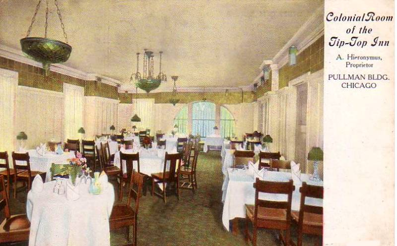 POSTCARD - CHICAGO - COLONIAL ROOM - TIP TOP INN - PULLMAN BUILDING - EARLY