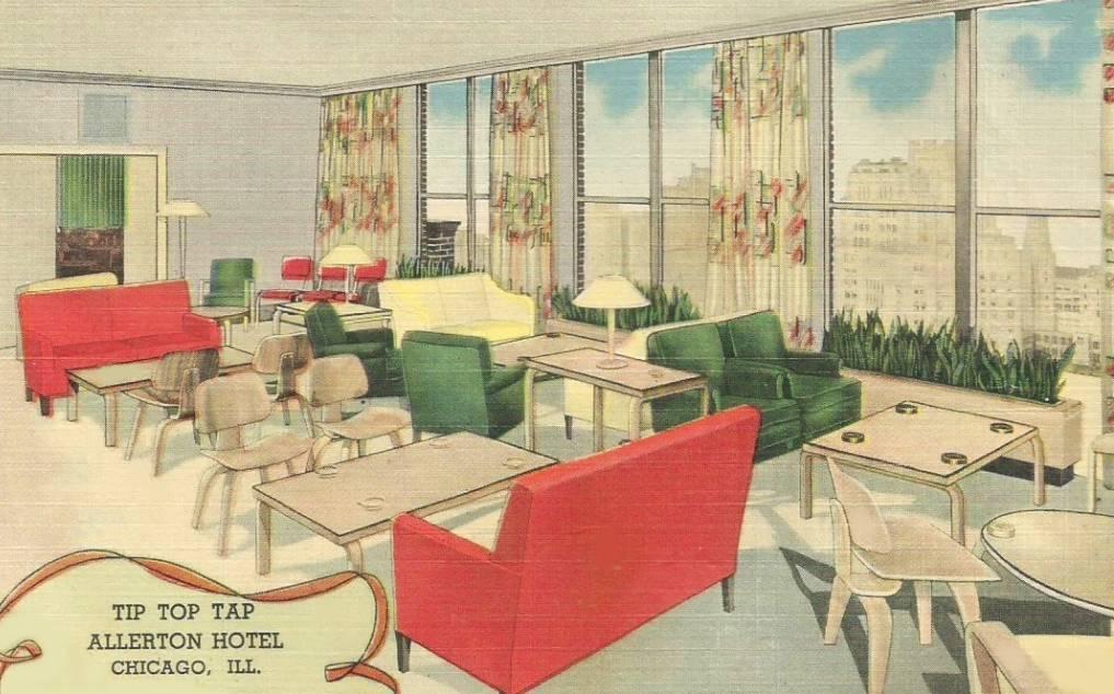 POSTCARD - CHICAGO - TIP TOP TAP - ALLERTON HOTEL - DAYLIGHT - c1950