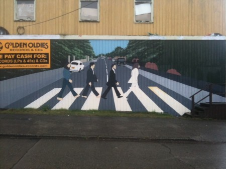 Quirky berkeley beatles mural for Beatles abbey road wall mural
