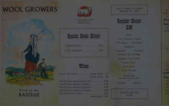 Wool Growers Menu