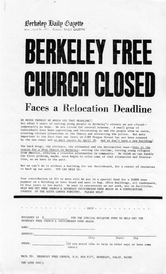 Berkeley Free Church Closed 1971