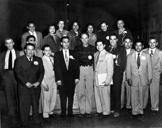 Community Service Organization leadership, including Cesar (third from right) and Saul Alinksy (far left)