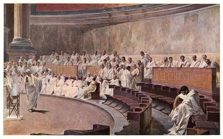 Cicero speaking the Senate