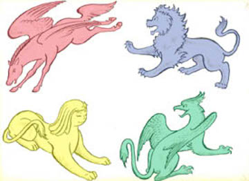 Blue lion, green griffon, yellow sphinx, red pegasus