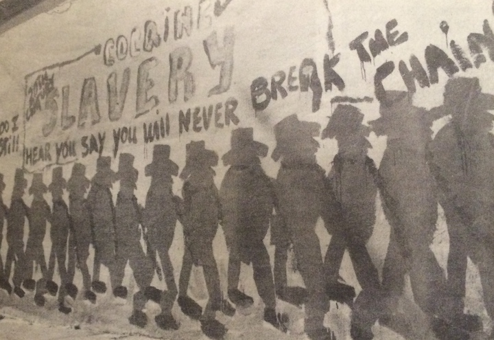 Mural at South Berkeley liquor store protesting crack cocaine epidemic.  Daily Californian, July 14, 1989