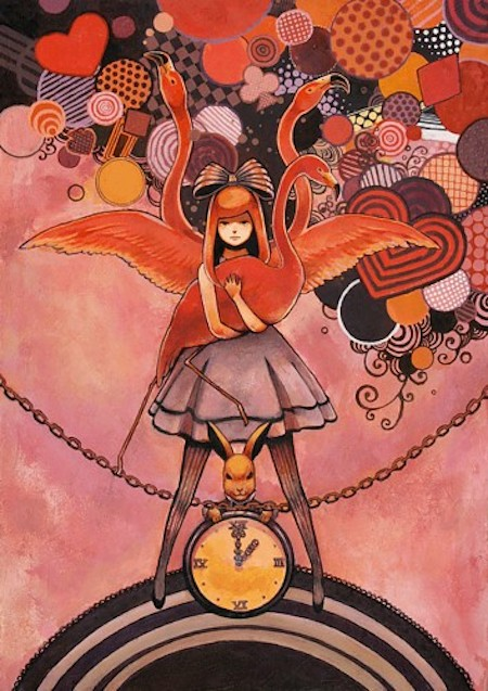 aliceinwoderland,illustration,alice,flamingo,whiterabbit,manga-1dfa61f7cd3f9804a47d1cf251c842dc_h