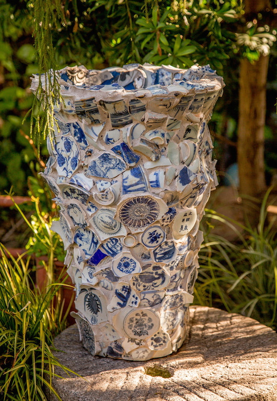 Antique Chinese porcelain shards pot by Cevan Forristt
