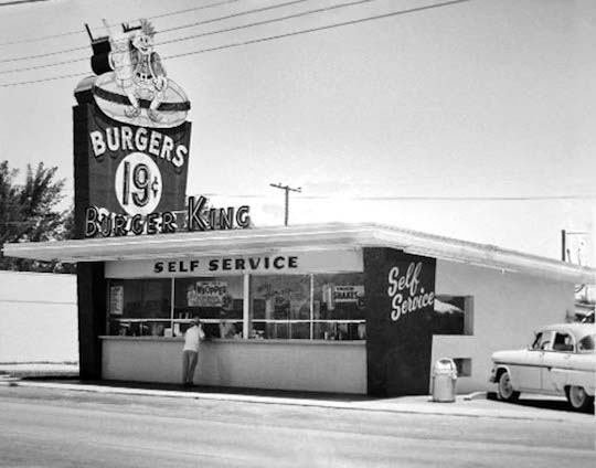 A Miami-area Burger King in the 1960's.  This image was cleaned and enhanced by Don Boyd on 8/29/07 for display on his websites.