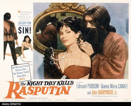 E5NJ7W THE NIGHT THEY KILLED RASPUTIN, (aka LES NUITS DE RASPOUTINE), US poster, from left: Jany Clair, Edmund Purdom, 1960