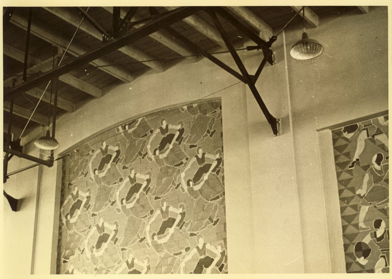 GYM Interior-North wall mural c.10-5-36 #2