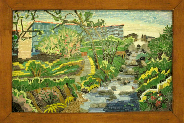 Mosaic mural, Strawberry Creek Lodge