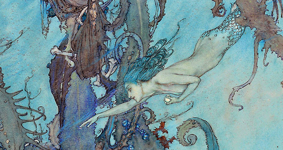 Hans Christian Anderson's Litte Mermaid, illustration by Edward Dulacf
