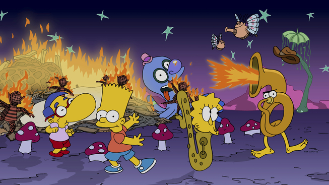 "THE SIMPSONS: Homer takes the family camping at the ÒBurning GuyÓ festival in the all-new ""Blazing Guy"" episode of THE SIMPSONS airing Sunday, Nov. 16 (8:00-8:30 PM ET/PT) on FOX. THE SIMPSONS ª and © 2014 TCFFC ALL RIGHTS RESERVED"