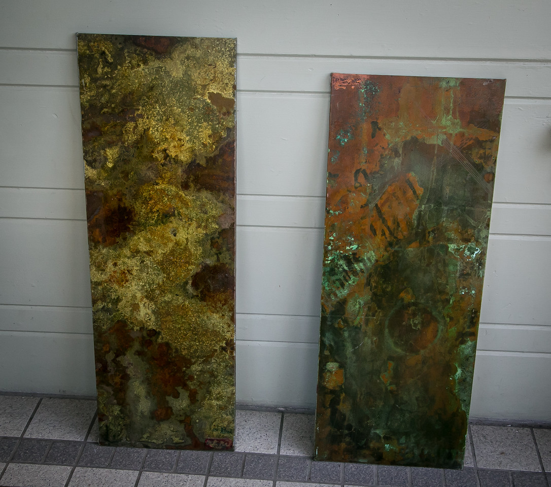 Patinated galvanized steel.  1994 and 1995.