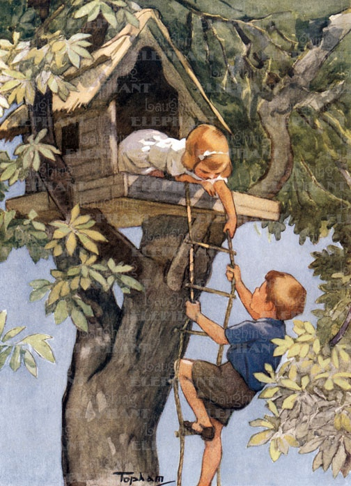 """The House in the Chestnut Tree"", book illustration by Inez Topham, c. 1920's, play, children, brothers and sisters, treehouses, imagination"