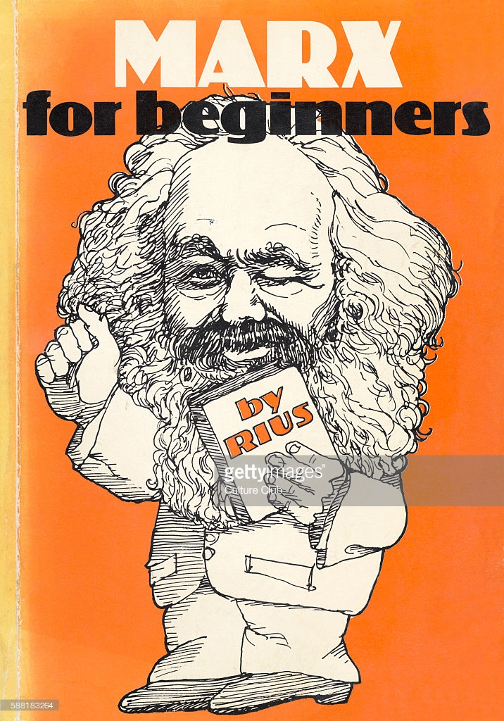 Marx for Beginners by Rius (Eduardo del Rio) - cover of popular illustrated Mexican educational book, Translation published 1976,UK by Writers  and Readers Publishers Co-operative