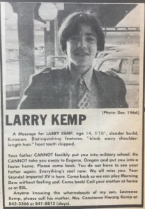 Larry Kemp Runaway September 29