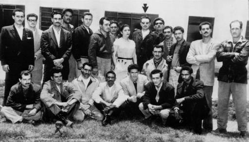 "Fidel Castro (arrow) and followers arrested in Mexico, 1956. Seated second from left is Ernesto ""Ché"" Guevara. (photo: AP)"
