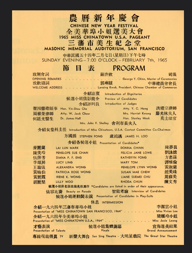 Miss Chinatown Program