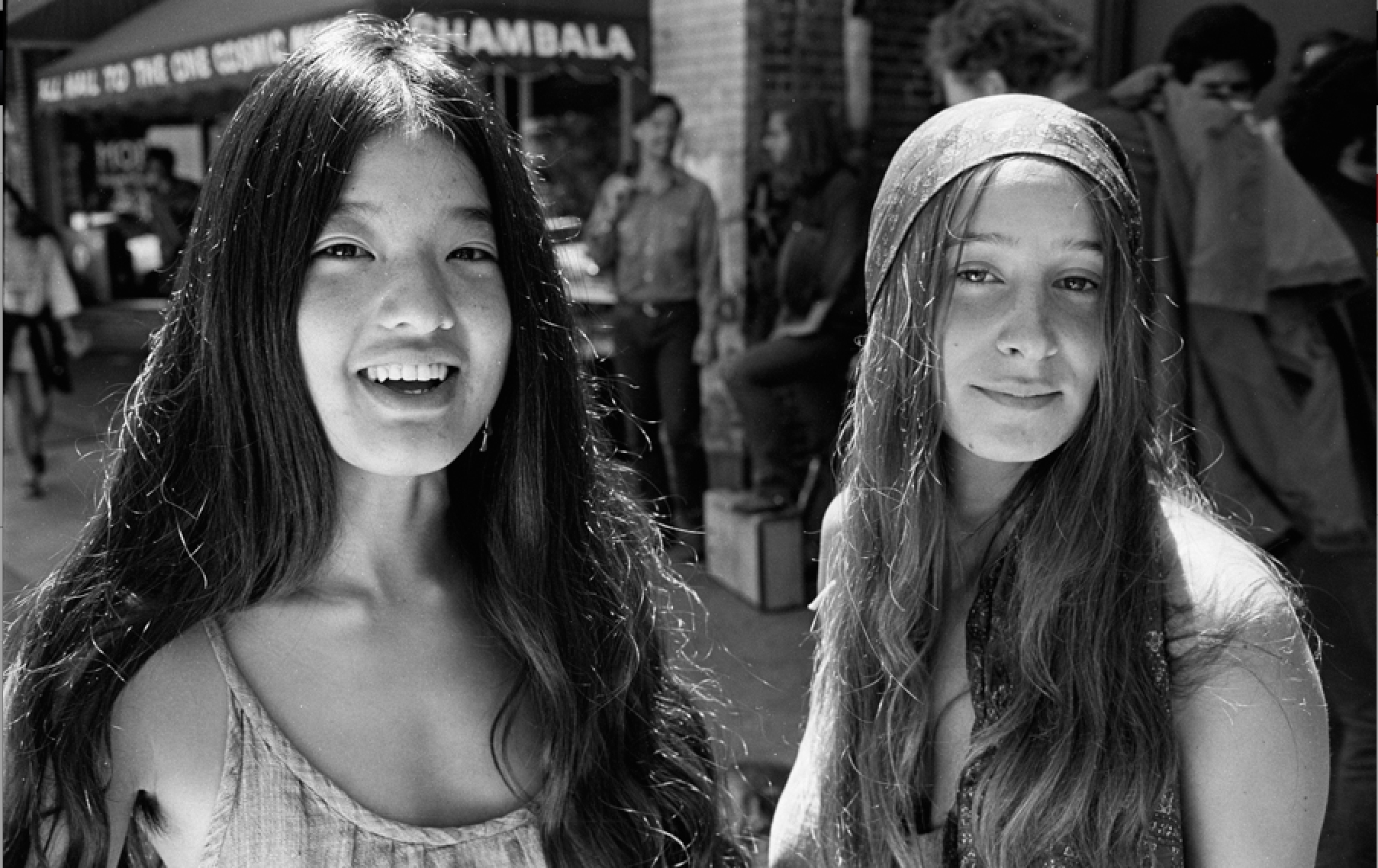 Liane Chu with friend on Telegraph.  Photo: Nacio Jan Brown.