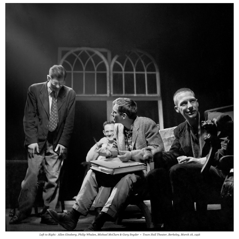 Ginsberg, Philip Whalen, Michael McClure, and Gary Snyder at Berkeley reading.  Photo: Walter Lehrman
