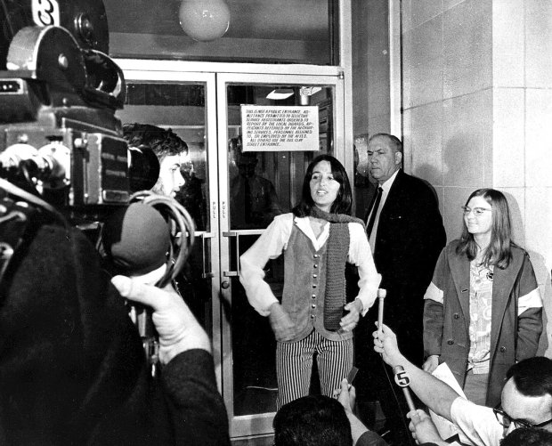 Joan Baez blocks the Clay Street Induction Center, protesting to stop the draft in 1967.  (Bay Area News Group Archives)