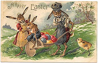 easter-postcard-dressed-rabbit-family-with-wheelbarrow-of-colored-eggs-97668_27013576