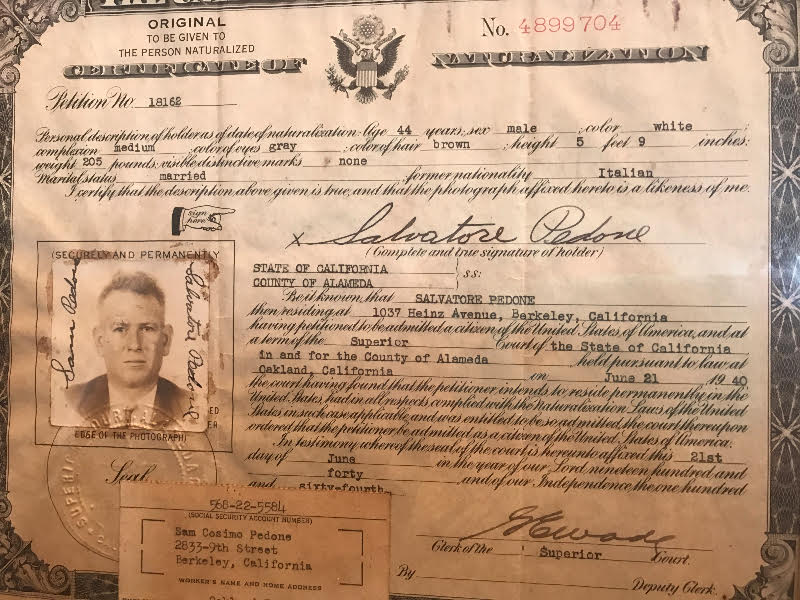 Certificate of Naturalization Sam Senior