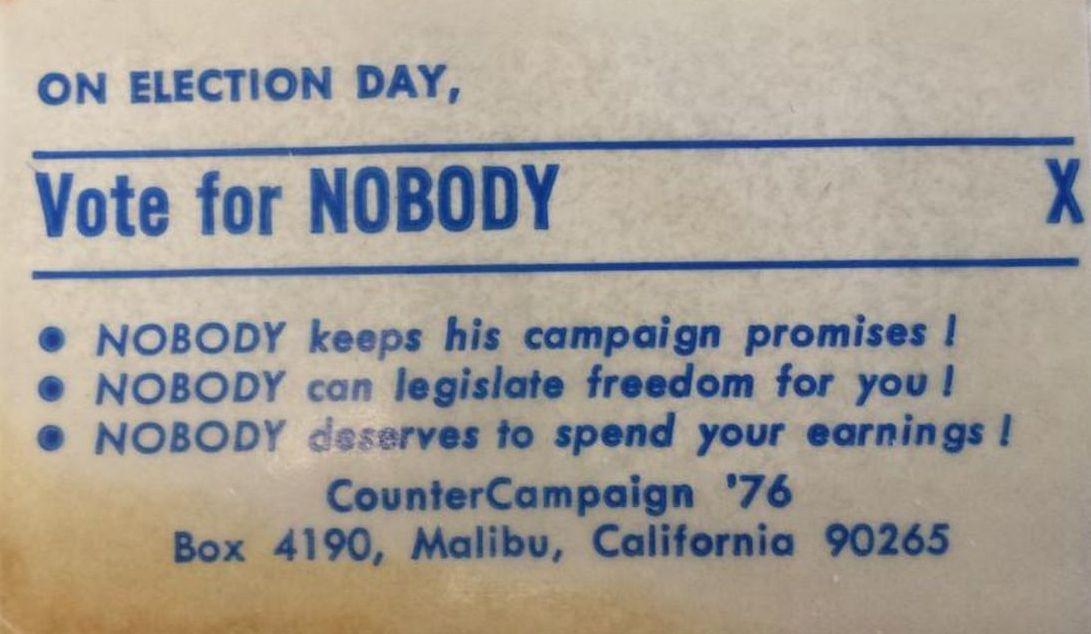 Vote for Nobody card