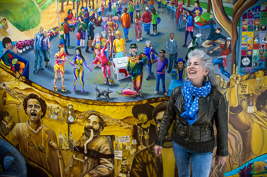 Muralist and Berkeley City College instructor Juana Alicia with a mural by her students at the Berkeley campus on Mar. 20, 2017. Students painted a figure in the mural who bears her resemblance.