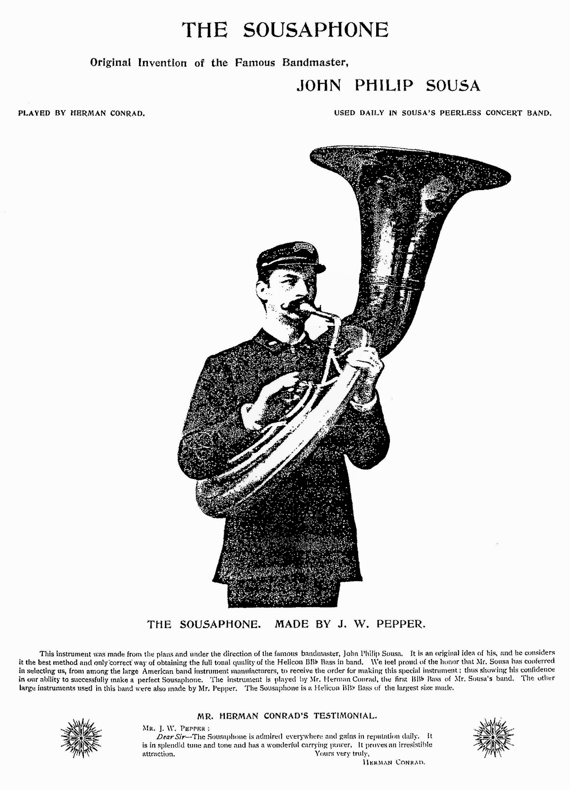 1893 First (and only) JW Pepper Sousaphone - from Pepper Journal of 1898 - Copy