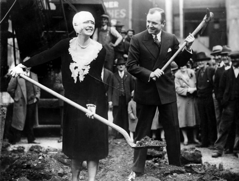 March 2, 1928 - Dale Winter and husband Henry Duffy break ground for the Dufwin Theater