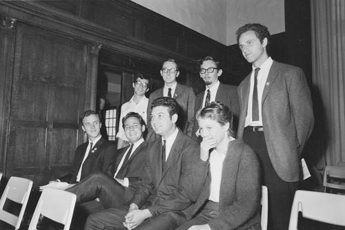 Left to right. Seated: Brian Turner, Sandor Fuchs, Arthur Goldberg, Elizabeth Gardner. Standing: David Lance Goines, Mark Bravo, Don Hatch, Mario Savio