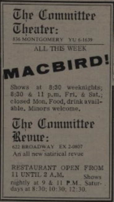 MacBird Barb April 28 - May 4