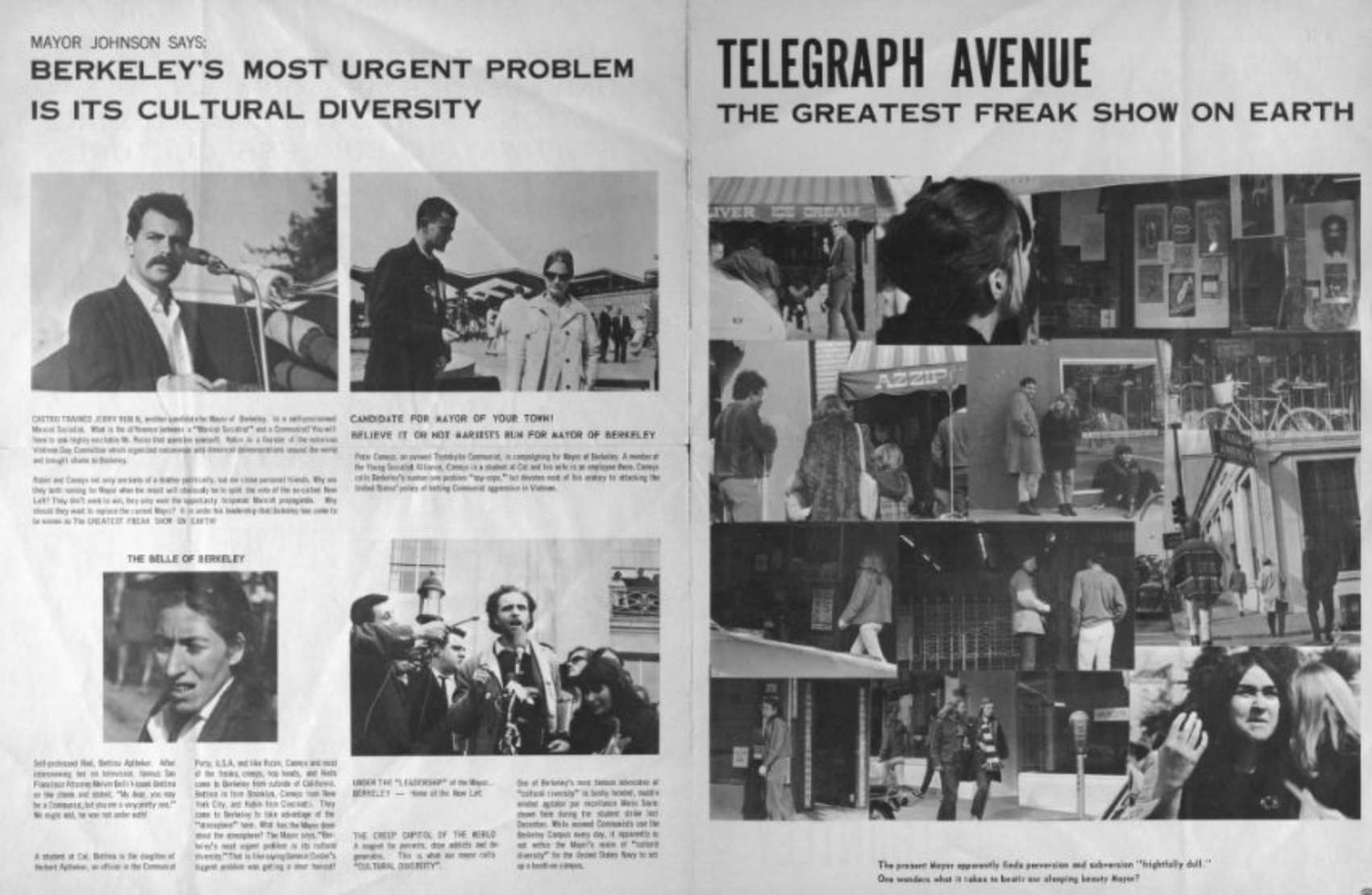 Telegrpah Avenue Freak Show Huntley for Mayor 1967