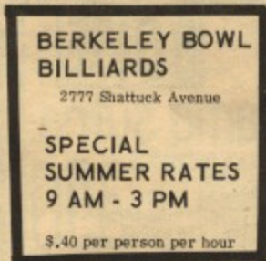 Berkeley bowl Billiards