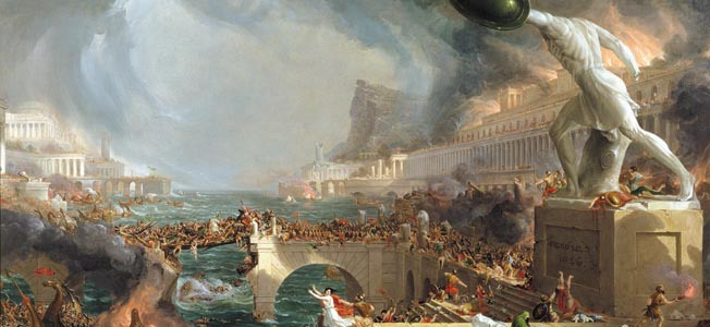 The Course of Empire: Destruction, 1836 (oil on canvas) by Cole, Thomas (1801-48) © New-York Historical Society, New York, USA PERMISSION REQUIRED FOR NON PUBLISHING USE American, out of copyright