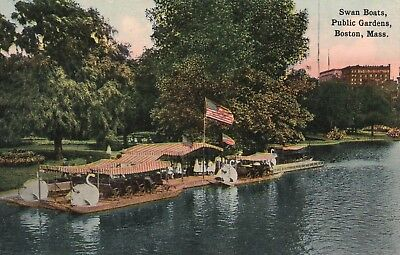 Early-Swan-Boats-Public-Gardens-Boston-Massachusetts-Postcard