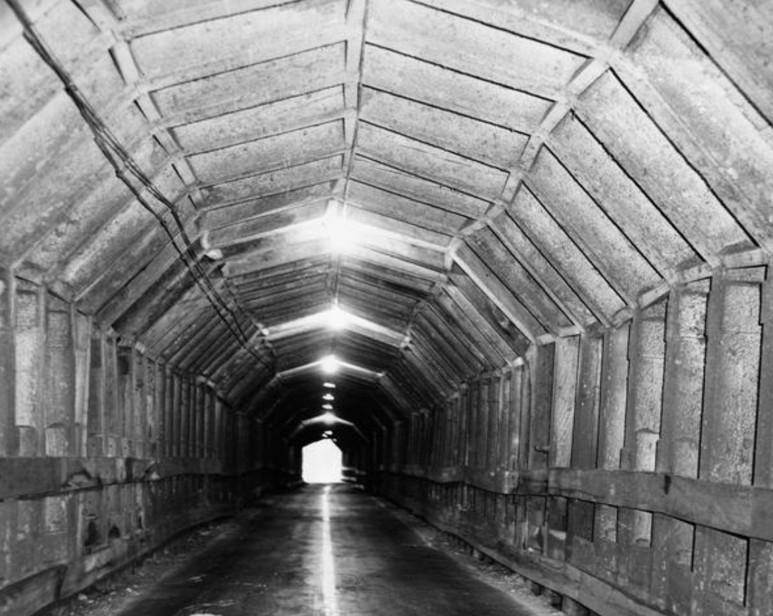 The tunnel after Contra Costa County Supervisors voted to close it in June 1947.  Photo: Russ Reed, Oakland Tribune