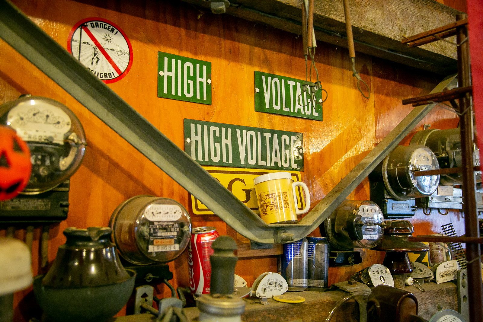 Lineman memorabilia collector, Bobo, at his home in San Juan Baptista, Calif. on March 29th, 2019.  Hubbard brace.  Edison uses  signs porcelain.   Insulator very rare, found in Casgtroville
