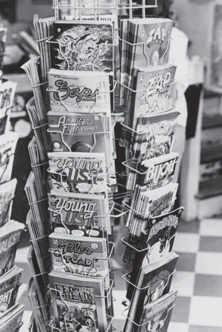 Comic rack at the Print Mint.  Photo: Patrick Rosenkranz