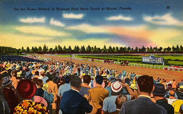 "(Original Caption) On the Home Stretch at Hialeah Park Race Track at Miami, Florida. Hialeah Park Race track is one of the most famous in the country. Followers of the ""Sport of Kings"" from the whole country over attend every meet in which some of the best horses are raced. (Photo by  Rykoff Collection/CORBIS/Corbis via Getty Images)"