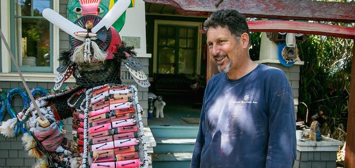 Mark Olivier with cigarette lighter samurai