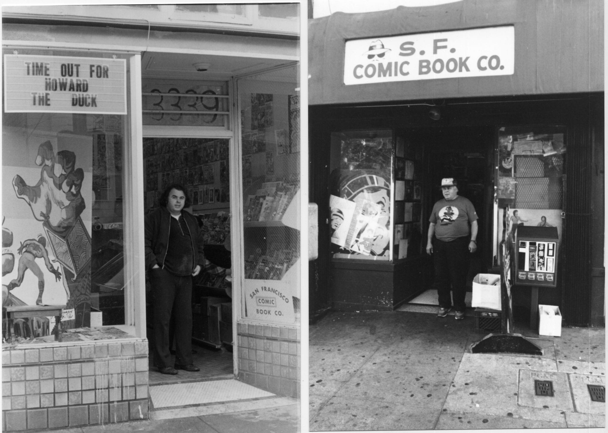 The 23rd Street storefront of the San Francisco Comic Book Company, 22 year apart. Photos by Patrick Rosenkranz.